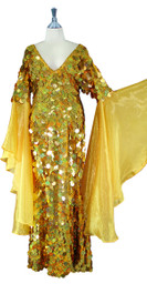 Long Handmade Paillette Sequin Gown in Hologram Gold with Oversized Organza Sleeves front view