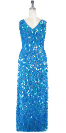 Long Handmade Paillette Sequin Gown in Pastel Purple-Blue Front View