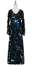 Long Handmade Paillette Sequin Gown in Iridescent Black with Oversize Sleeves Front view