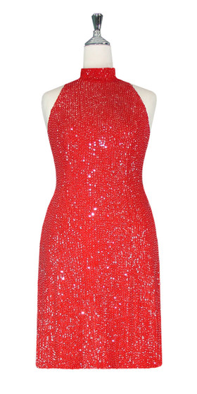 Short Handmade 8mm Cupped Sequin Gown in Red with Chinese Collar front view