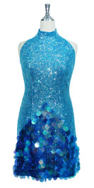Short Chinese Collar Handmade 8mm Cupped Sequin Dress in Transparent Blue with Paillette Sequin Skirt front view
