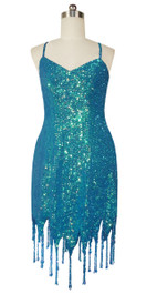 Short Handmade 8mm Cupped Sequin Dress in Iridescent Blue with Jagged Beaded Hemline front view