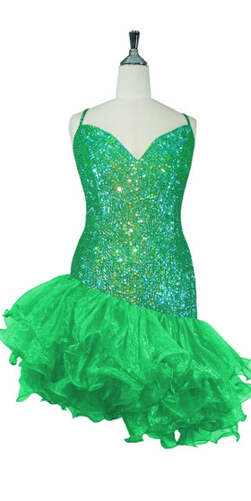 Short Handmade 8mm Cupped Sequin Dress in Iridescent Dark Green with Organza Ruffled Diagonal Hemline front view