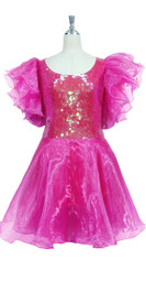 Short Handmade 10mm Flat Sequin Dress in Transparent Pink with Organza Sleeves and Skirt front view