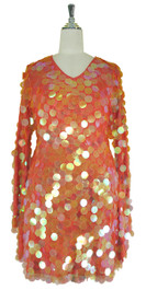 Short Handmade 30mm Paillette Hanging Iridescent Orange Sequin Dress with V Neck and Oversized Sleeves front view