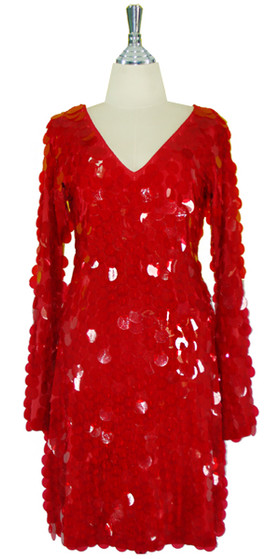 Short Handmade 30mm Paillette Hanging Transparent Red Sequin Dress with V Neck and Oversized Sleeves front view