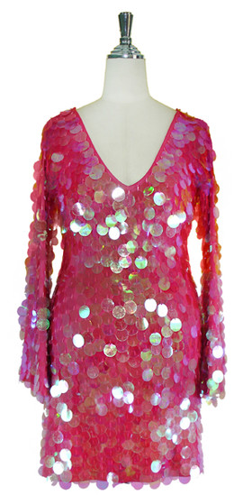 Short Handmade 30mm Paillette Hanging Iridescent Pink Sequin Dress with V Neck and Oversized Sleeves Front View