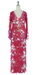 Long Handmade Paillette Sequin Gown in Transparent Iridescent Pink with Oversize Sleeves front view