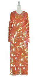 Long Handmade Paillette Sequin Gown in Transparent Iridescent Peach with Oversize Sleeves front view