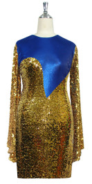 Short patterned dress with oversized sleeves in gold sequin spangles fabric and blue stretch ITY Front View