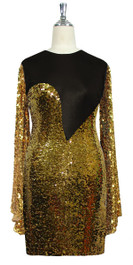 Short patterned dress with oversized sleeves in gold sequin spangles fabric and black stretch ITY fabric Front View