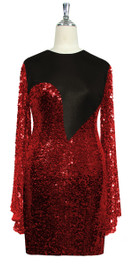 Short patterned dress with oversized sleeves in red sequin spangles fabric and black stretch ITY fabric Front View