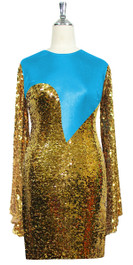Short patterned dress with oversized sleeves in gold sequin spangles fabric and turquoise stretch ITY fabric Front View