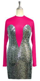 Short patterned dress with long sleeves in silver sequin spangles fabric and fuchsia stretch ITY fabric Front View