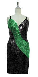 Short patterned dress in black and green sequin spangles fabric in a classic cut front view