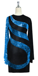 Short patterned dress in metallic turquoise sequin spangles fabric and stretch black fabric with oversized sleeves front view