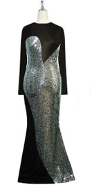 Long sleeved gown in metallic silver sequin spangles fabric and black stretch fabric with flared hemline front view