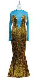 Long sleeved gown in metallic gold sequin spangles fabric and turquoise stretch fabric with flared hemline front view