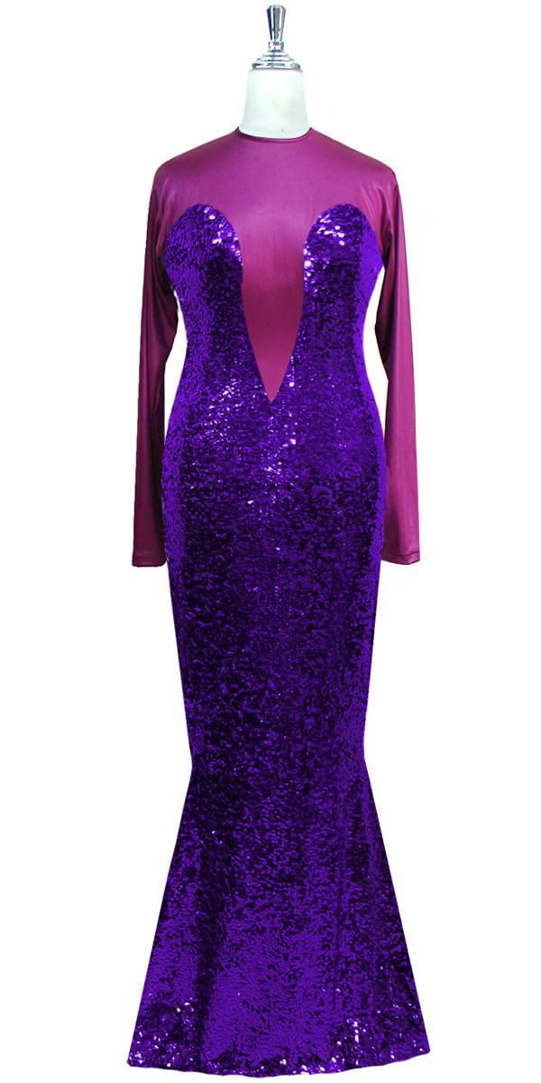 Long Sleeved Gown In Metallic Dark Purple Sequin Fabric And Stretch With Flared Hemline