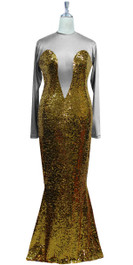 Long sleeved gown in metallic gold sequin spangles fabric and grey stretch fabric with flared hemline front view