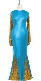 Oversized sleeve gown in metallic gold sequin spangles fabric and turquoise stretch fabric with flared hemline front view
