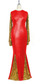 Oversized sleeve gown in metallic gold sequin spangles fabric and red stretch fabric with flared hemline front view