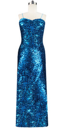 Long dress in metallic turquoise sequin spangles fabric and classic cut front view