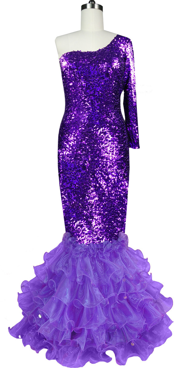 Long Dress | One-color | Metallic Purple Sequin Spangles Fabric ...