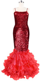 Long dress in metallic red sequin spangles fabric with red organza ruffles front view