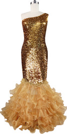 Long dress in metallic gold sequin spangles fabric with gold organza ruffles and one-shoulder neckline front view