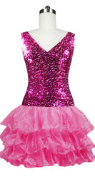 Short  Sequin Fabric Dress In Fuchsia With Ruffle Hemline With A Cowl Back Front view