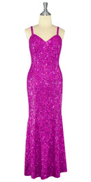 Long Handmade 8mm Cupped Sequin Dress in Hologram Fuchsia front view