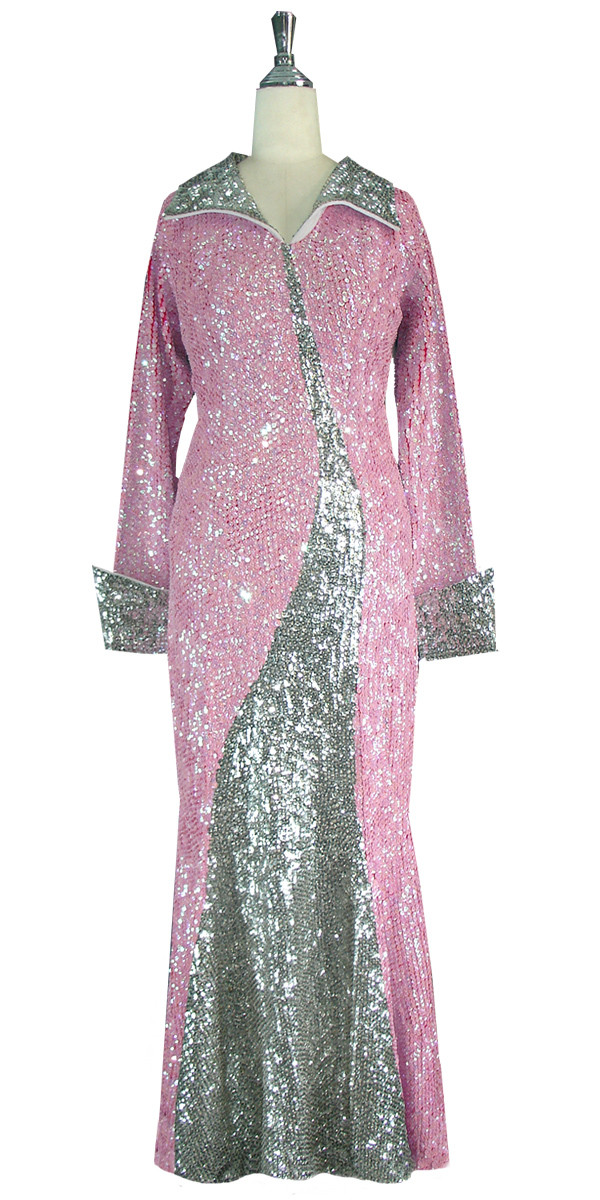 Long Dress | Handmade | 8mm Cupped Sequin Spangles | Pink | Silver ...