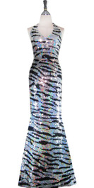 Long Handmade Patterned Sequin Gown in Black and Silver Animal Print Front View