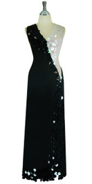 Long Handmade Sequin Stretch Dress in Black and White Front View
