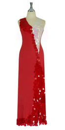 Long Handmade Sequin Paillette Dress in Red and White front View