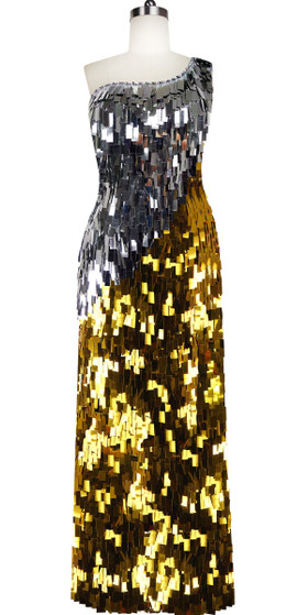Long Handmade One-shouldered Rectangular Sequin Paillette Dress in Silver and Gold Front View