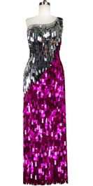 Long Handmade One-shouldered Rectangular Paillette Sequin Dress in Fuchsia and Silver Front View