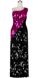 Long Handmade Rectangular Paillette Sequin Dress in Black and Fuchsia Front View