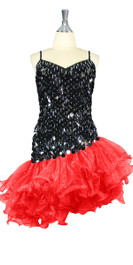 Short Handmade 20mm Paillette Hanging Black Sequin Dress with Red Diagonal Organza Hemline front view