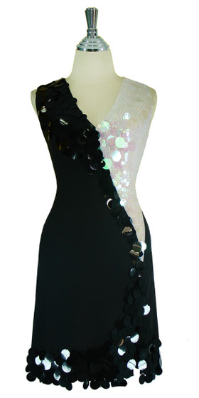 Short Handmade Sequin Paillette Stretch Dress in Black and White front view