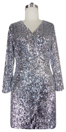 Sequin Fabric Short Wrap Dress in Silver Metallic Sequins with Sleeves Front View