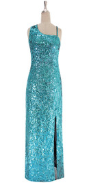 A long handmade sequin dress, in 8mm classic turquoise cupped sequins on a one-shoulder cut and Luxe grey fabric background.   SIZE: US 10 / UK 12 / EUR 42 (Measurements are shown as inches) BUST: 38 WAIST: 31 HIPS: 41 G: 20 (min top of shoulder to waist) LENGTH: 62 (from mid top of shoulder down front) SLIT: 26  Order slightly larger if unsure as you can adjust down in sizing with a seamstress local to you once your item arrives. (Normally we leave about 1 inch of fabric on inside seams to allow you to let an item out slightly.)   Lining: yes   Stretch: yes (1 to 2 inches across body)    Composition: P.E.T. sequins on 95% polyester 5% spandex base    Care: Cold water delicates or hand wash: test first. Dry flat. Do not iron.