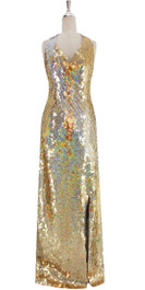 A long IN STOCK handmade sequin dress, in 8mm gold and silver sequins in a chevron pattern with Luxe grey fabric background in a halter cut.  This gorgeous dress is in-stock and ready to ship. (You may order this dress in your own size with a making time of around 4 to 5 weeks, plus shipping time. Please contact us for more details of how to order in your own size.)  SIZE: US 14 / UK 16 / EUR 46 (Measurements are shown as inches) BUST: 41 WAIST: 34 HIPS: 44 G: 20 (min top of shoulder to waist) LENGTH: 63 (from mid top of shoulder down front) SLIT: 27  Order slightly larger if unsure as you can adjust down in sizing with a seamstress local to you once your item arrives. (Normally we leave about 1 inch of fabric on inside seams to allow you to let an item out slightly.)   Lining: yes   Stretch: yes (1 to 2 inches across body)    Composition: P.E.T. sequins on 95% polyester 5% spandex base    Care: Cold water delicates or hand wash: test first. Dry flat. Do not iron.