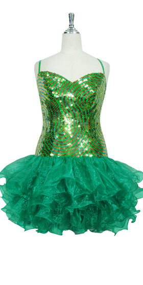 Short Swirl Patterned Handmade 10mm Flat Sequin Dress in Green and Gold with Ruffled Organza Skirt front view