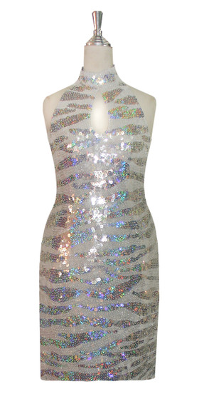 Short Chinese Collar Handmade Patterned Sequin Dress in White and Silver Animal Print Front View