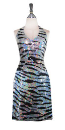 Short Handmade Patterned Sequin Dress in Black and Silver Animal Print Front View