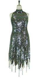Short Swirl Patterned Handmade 10mm Flat Sequin Chinese Collar Dress in Metallic Silver and Black with Jagged and Beaded Hemline Front View