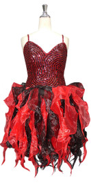 Short Handmade Patterned Ruffled Sequin Dress in Black and Red Front View