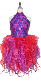 Short Handmade Patterned 8mm cupped Sequin Organza Ruffle Dress in Fuchsia and Purple Front View